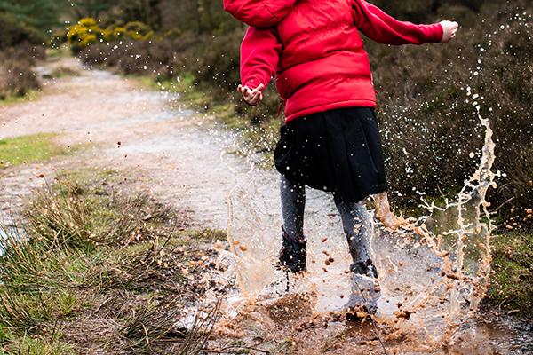 splashing in rain