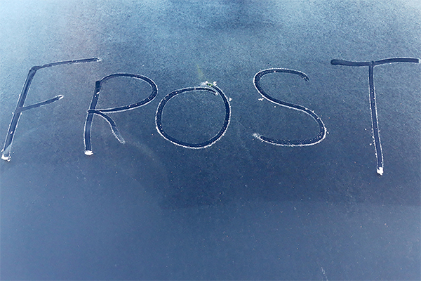Frost written on a car screen