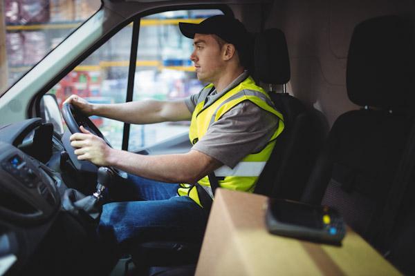 Van driver looking anxious