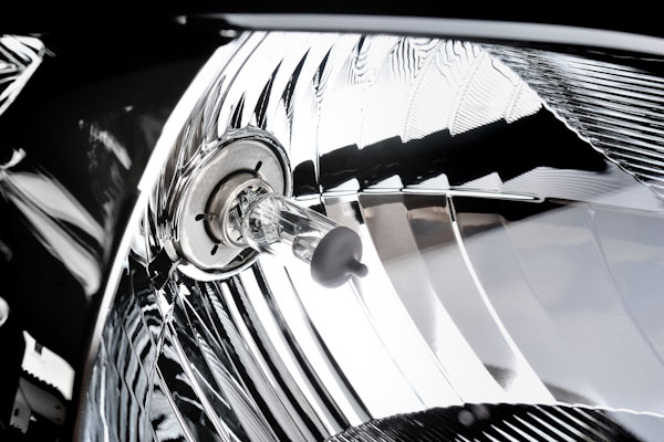 close up of a headlight
