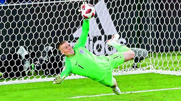 England goalie/ Everton keeper Jordan Pickford saving the goal in World Cup Russia 2018